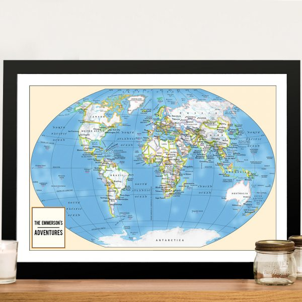 Personalised Adventurer World Travel Map with Push Pins