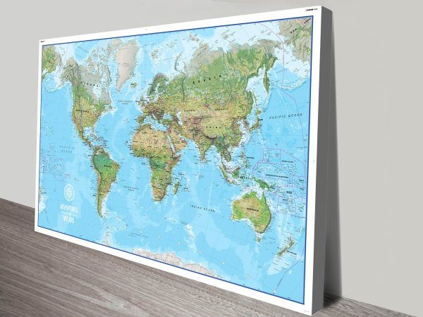 Customised Atlantis World Map with Push Pins Canvas Print