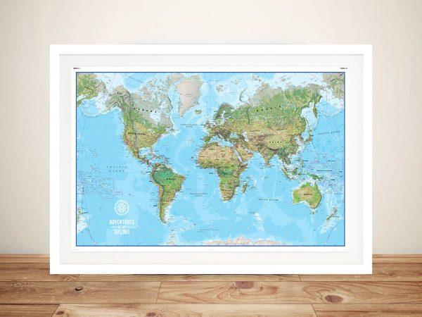 Custom Atlantis World Travel Map with Push Pinboard