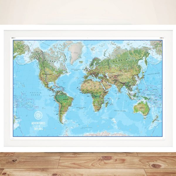 Custom Atlantis World Travel Map with Push Pinboard