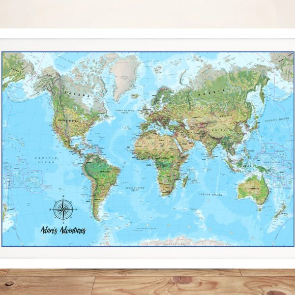 Custom Atlantis Travel Map with Push Pinboard