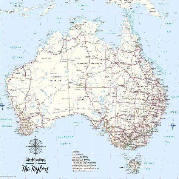 Australian Custom Map Push Pin Wall Hanging Picture
