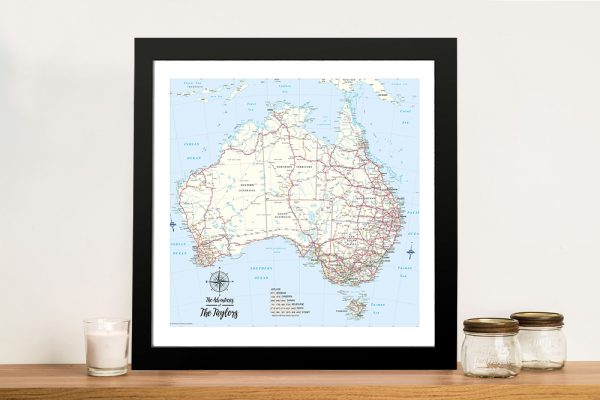Australia Detailed Map Push Pin Framed Wall Art