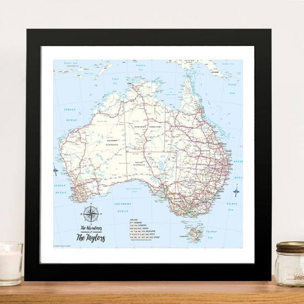 Australia Detailed Map Push Pin Framed Wall Art