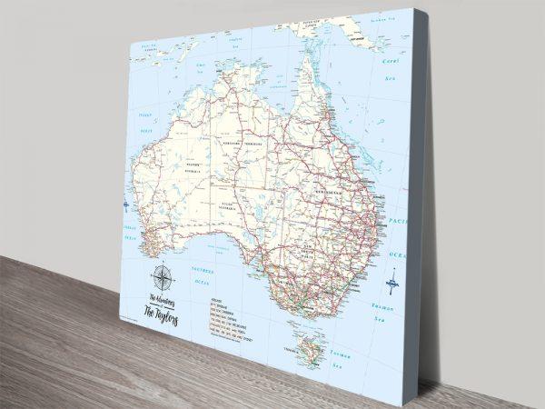 Australia Custom Map Push Pin Wall Hanging Art
