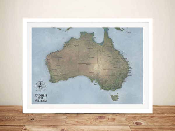 Custom Cyan Australia Travel Map Art with Pins