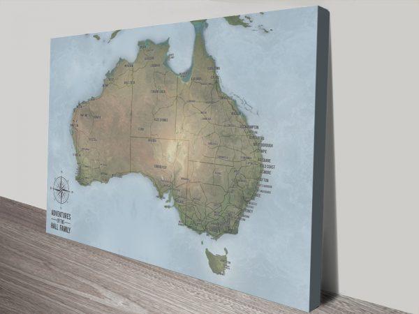 Customisable Cyan Australia Travel Map Art with Pins
