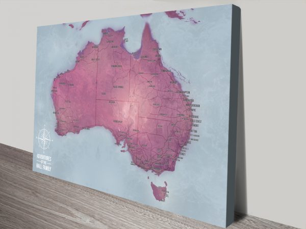 Personalised Australia Map Canvas print