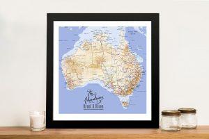 Australia Detailed Mid Blue Map