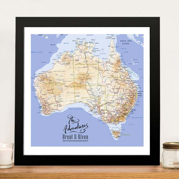 Australia Topographical Framed Wall Art Pinboard Painting
