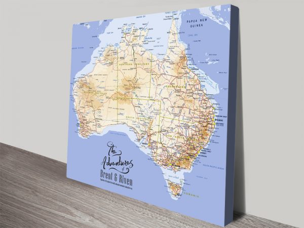 Personalised Australia Topographical Mid Blue Map with Push Pins