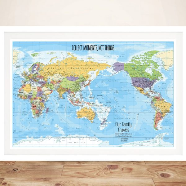 Australia Pacific Centred Pin Blue Map Framed Wall Art