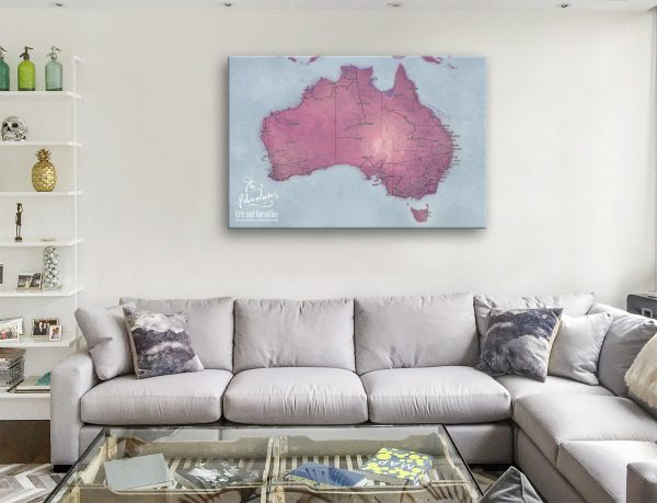Personalised Australia Travel Map with Pins Canvas print