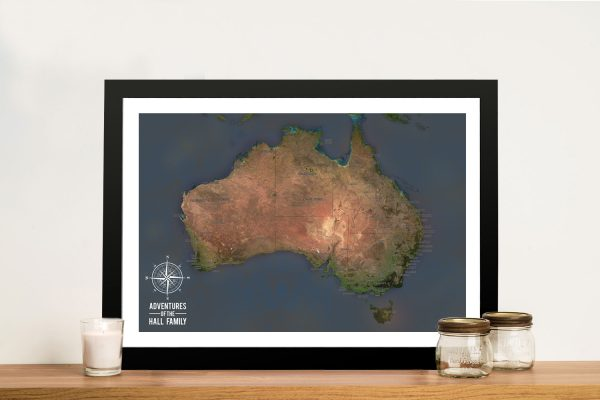 Personalised Charcoal Australia Framed Travel Map Wall Art