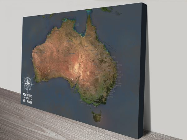 Personalised Charcoal Australia Travel Map Art