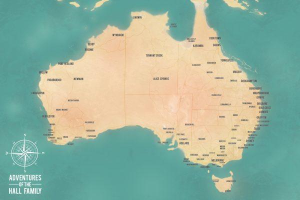Personalized Australia Map Canvas Print Corkboard