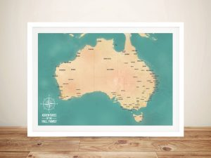 Teal Australia Pinboard Map