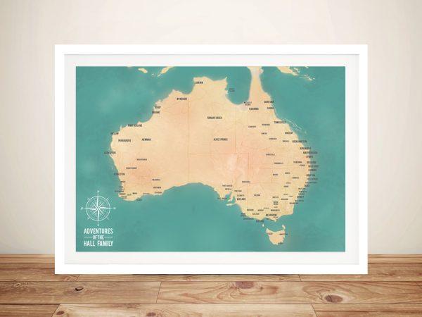Australia Map Travel Framed Pinboard Wall Art