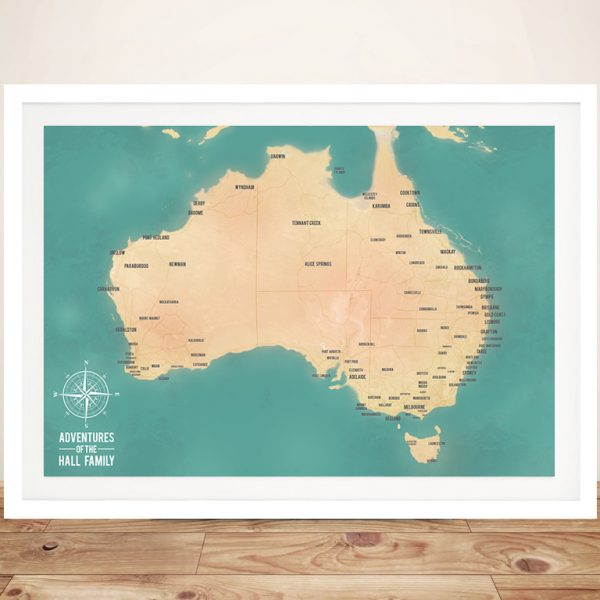 Australia Map Travel Framed Pinboard Wall Art