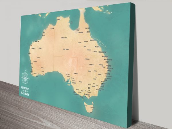Green Australia Travel Map with Pins