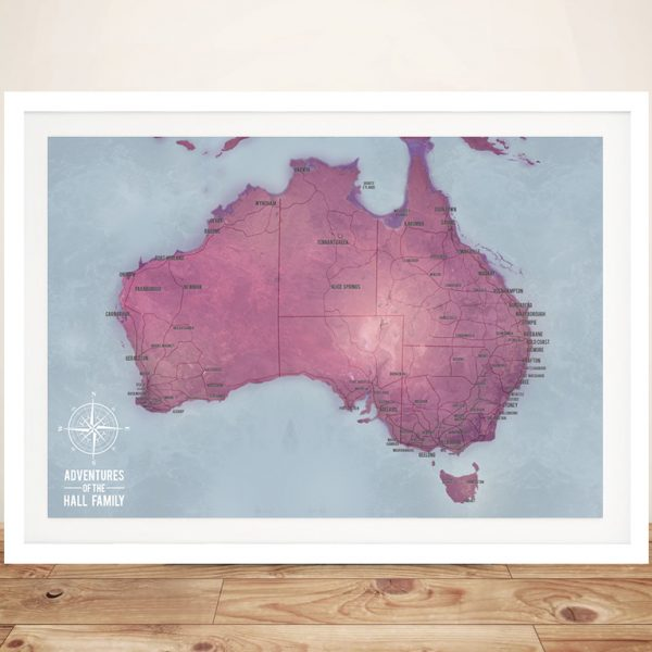 Personalised Australia Pinboard Map Art