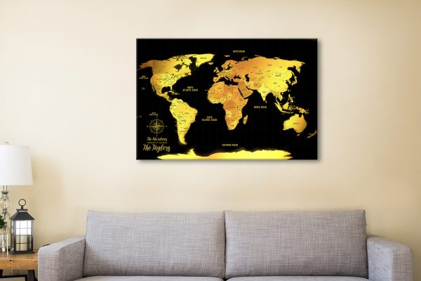 Customized Black & Gold Push Pin Travel Map