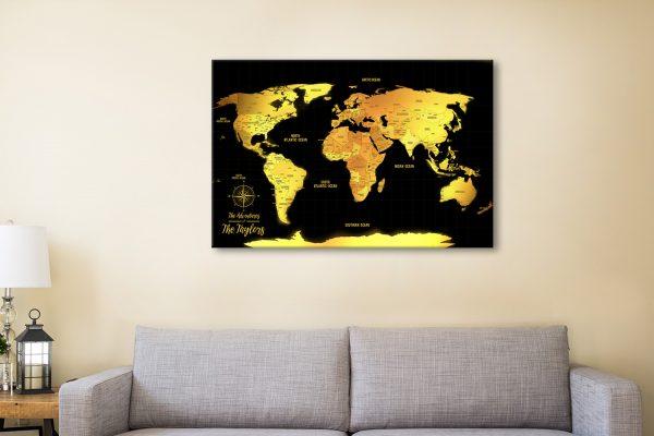 Customized Black & Gold Push Pin Travel Map