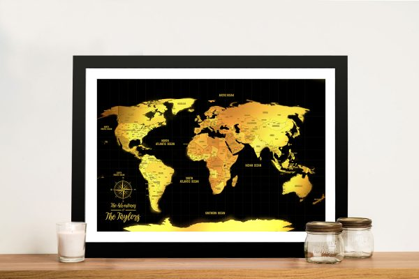 Black And Gold World Map Framed Pinboard Wall Art