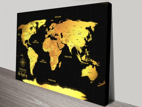 Black and Gold World Map canvas print with Pins