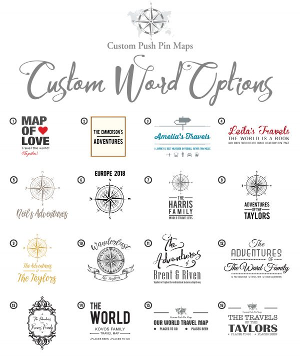 Custom Push Pin Map Compass options