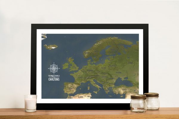 Personalized Europe Travel Maps with Push Pins