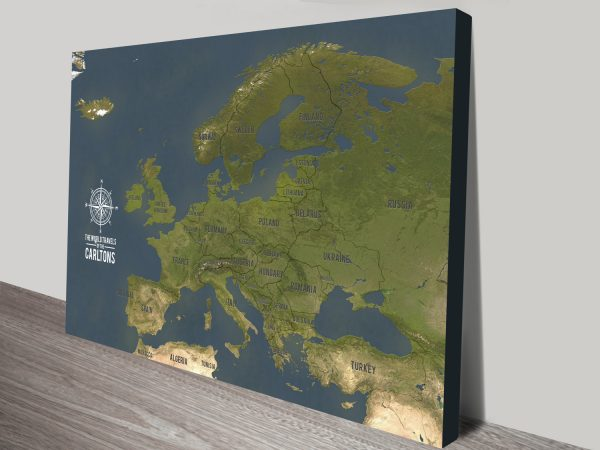 Personalized Europe Travel Maps with Push Pins Canvas Print