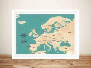 European Travel Map Art – Teal