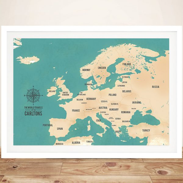 Europe Push Pin Travel Maps Corkboard Wall Art with Custom Words