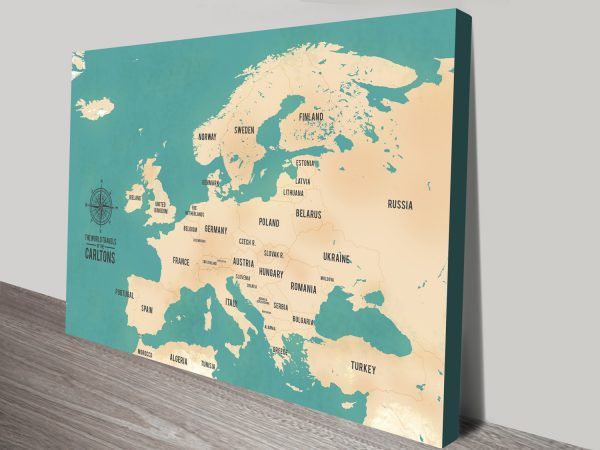 Custom European Travel Maps with Push Pins Canvas