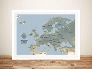 European Travel Map Art – Cyan