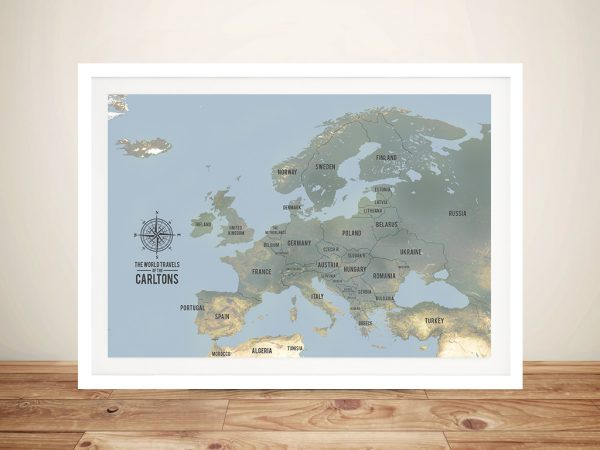 Europe Map Framed Pinboard Art