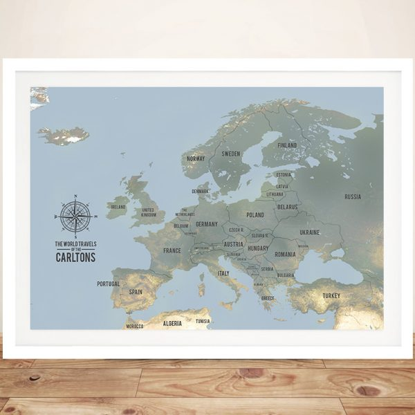 Europe Map Framed Pinboard Art