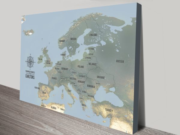 Personalized Europe Framed Pinboard Map Art Canvas Prints