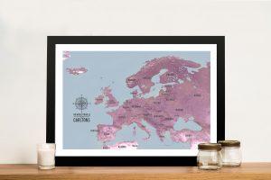 European Travel Map Art – Magenta
