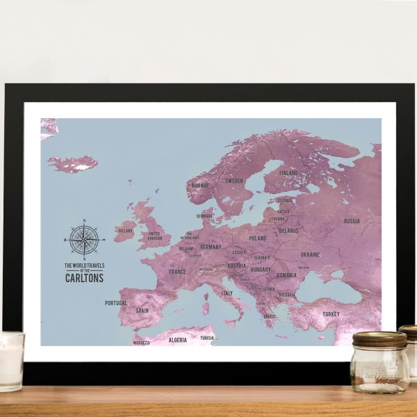 European Push Pin Map Framed Wall Art