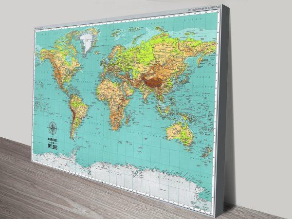Explorer World Travel Map Canvas Print