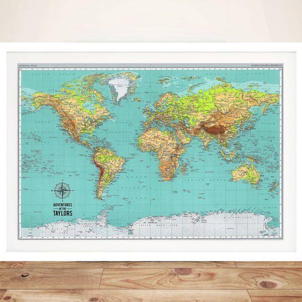 Explorer Push Pin World Map Framed