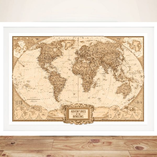 Globetrotter Adventure Map with Pins Framed Wall Art