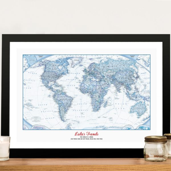 Personal Travels Framed Wall Art with Cork Pinboard