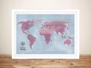 Magenta World Push Pin Map
