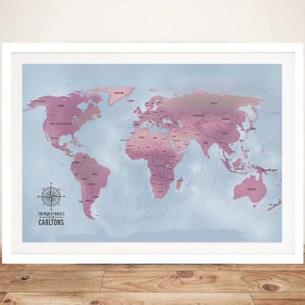 Magenta Custom Framed Push Pin Map