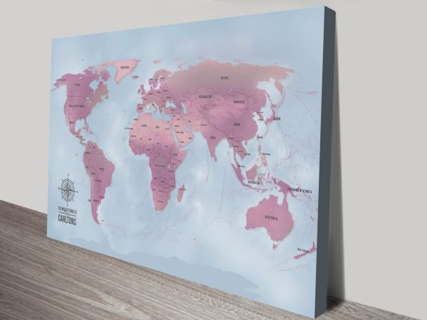 Magenta Custom Push Pin Map Canvas Picture Art