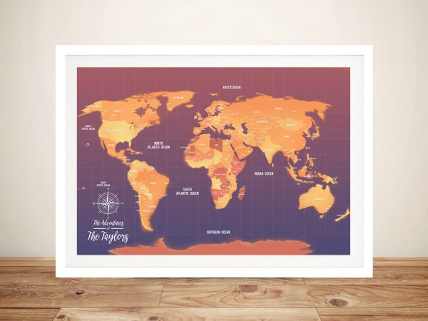 Personalized Orange Hues Pushpin Travel Map Art Gift Ideas USA