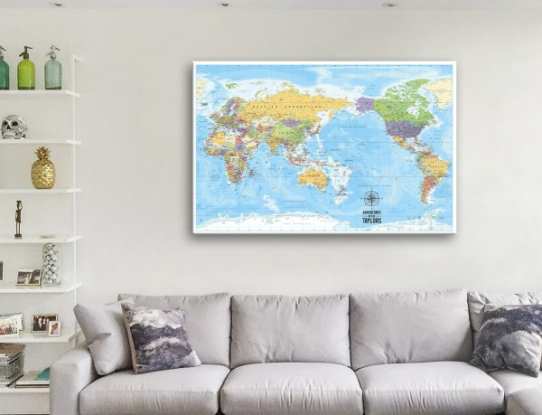 Pacific Centred World Map Artwork
